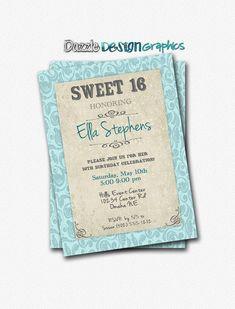 Sweet 16 Vintage Elegance birthday invitation, (no photo) pink and gold photo invite, #255 Digital file on Etsy, $12.00