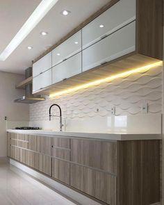 cozinha com fecho toque; cozinha com cava; cozinha com puxador cava Kitchen Room Design, Luxury Kitchen Design, Kitchen Cabinet Design, Kitchen Sets, Home Decor Kitchen, Interior Design Kitchen, Kitchen Furniture, Home Kitchens, Modern Kitchen Interiors