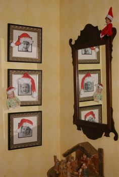 elf santa hatted all the pics in the house -- Elf on the shelf