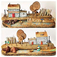 Scrap Wood Crafts, Pallet Crafts, Wooden Crafts, Driftwood Projects, Driftwood Art, Reclaimed Wood Art, Diy Wood, 3d Wall Art, Seashell Crafts