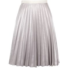 Antipodium Silver Pleated Skirt (710 CAD) ❤ liked on Polyvore featuring skirts, bottoms, silver, knee length pleated skirt, silver skirt, pleated skirt, silver metallic skirt and antipodium
