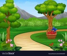 Best For Beautiful Cartoon Garden Pictures Scenery Background, Background Clipart, Cartoon Background, Scenery Drawing For Kids, Art Drawings For Kids, Easy Drawings, Adobe Illustrator, Cartoon Garden, Fall Harvest Decorations