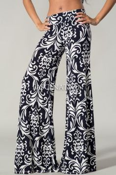Womens Navy White Floral Pattern Hot Fashion Palazzo Pants s M L Quirky Fashion, Boho Fashion, Womens Fashion, Fashion Black, Cheap Fashion, Day Party Outfits, Dance Outfits, Simple Outfits, Cool Outfits