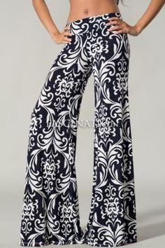 Womens Navy White Floral Pattern Hot Fashion Palazzo Pants s M L | eBay