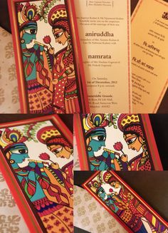 designed by Kimya Gandhi; wedding card, (contemporary take on) Madhubani folk art, Radha & Krishna  http://kimyagandhi.wordpress.com/2012/12/11/for-love-with-love/