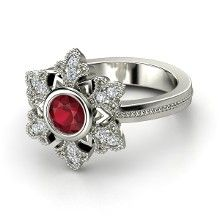 I don't like the circle around the ruby, but other than that, I like it. This would be the perfect ring for winter wedlock.