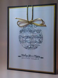 glittered music ornament with gold ribbon - gold and black color combo - bjl