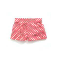pink + white polka dot shorts
