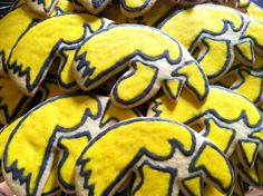 Herky the Hawk (Iowa Hawkeye's)  Hand Painted Butter Cookie. $24.00, via Etsy.