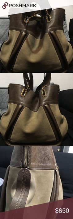 "Beautiful CHLOE Paraty  suede/leather tote bag 100% authentic two toned Chloe Paraty in a light tanned suede with light brown leather trim accents and dual handles. Large sized 15""H x 16.5""L x expands to like 2-5 inches and has gold tone hardware east west zips towards top of the bag for unique Chloe design. Overall Bag is in good preowned shape pics taken today dec 8th 2017 don't miss out on this one for its amazing looks and incredible $ deal Chloe Bags Totes"