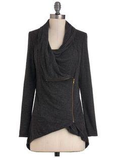 The asymmetrical zipper and cowl neck cute style #fixedonfall