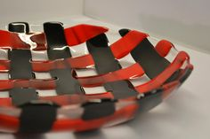 Basket Weave Fused Glass  Bowl  Red and Black by Purpleslug, $90.00