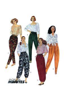 Womens Harem, Parachute Pants McCalls 5654 Elastic Waist Loose Fitting Pant Trouser Capri Tapered Leg or Balloon Cuff, Capri UNCUT by FindCraftyPatterns on Etsy