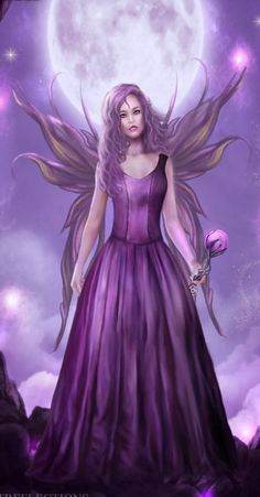 Purple Fairy Fantasy Art Print