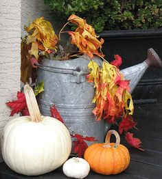 Need a quick brightener for an entryway corner? Head out to your shed for a watering can, and while you're there, grab the pruning shears. Found containers, like this galvanized watering pot, add unexpected interest to vibrant yard clippings. For a fuss-free display, pose your embellished watering can with an assortment of multisized pumpkins./