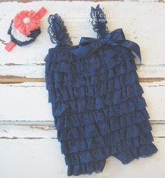 Combi-short bleu marine, Combi-short bleu marine et corail, tenue marine et corail, première tenue d
