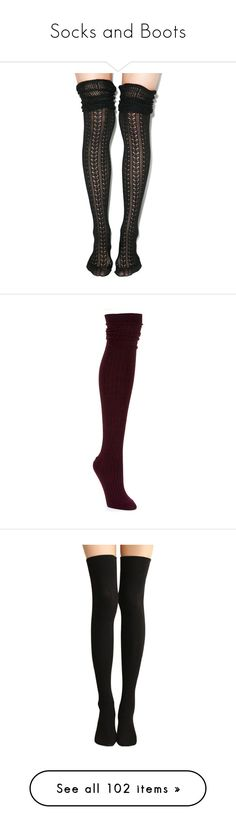 """Socks and Boots"" by argboo on Polyvore featuring intimates, hosiery, socks, tights, legs, ivory, crochet socks, long socks, spandex socks and patterned socks"