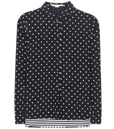 Stella McCartney - Polka-dot and striped silk blouse - Stella McCartney opts for contrasting character with this silk blouse with a duo of prints to the front and back. The mismatched look is kept chic in monochromatic black and white with sweet polka dots and sophisticated stripes. Wear yours tucked into a skirt. seen @ www.mytheresa.com