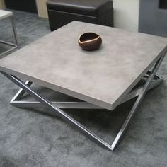 concrete and chrome table