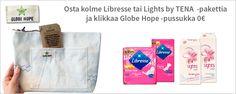 Osta kolme Libresse tai Lights by TENA -pakettia ja klikkaa Globe Hope -pussukka Magazine Rack, Lights, Storage, Home Decor, Highlight, Homemade Home Decor, Larger, Lighting, Light Fixtures