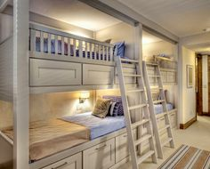 Space Saving Kids Bedroom for Four People with White Bunk Bed Idea.