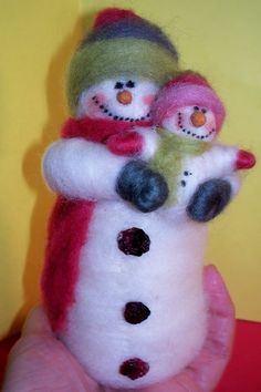 Woolie and Happy Felted Wool Snowmen