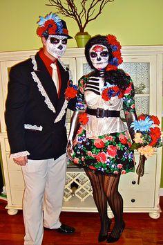 Goodwill Costume Ideas: Dia de los Muertos in vibrant colors. #goodwill #costume #DIY