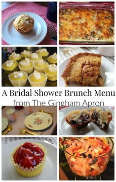 A Complete Bridal Shower Brunch Menu- sweet and savory dishes that your guest will love. Easy, make-ahead coffee cake, egg casserole, mini-cheesecakes, and muffins that will make your shower a success. Bridal Shower Brunch Menu, Luncheon Menu, Brunch Wedding, Best Brunch Recipes, Holiday Recipes, Breakfast Recipes, Delicious Recipes, Favorite Recipes, Make Ahead Brunch