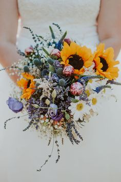 The bright pops of lavender, pink, and yellow made this bouquet by Picked Floristry perfect for a summer wedding. I love the contrast of the giant Sunflowers against the more dainty and elegant Lavender and Baby's Breath. Summer Wedding Bouquets, Daisy Wedding, Flower Bouquet Wedding, Early Spring Wedding, Dream Wedding, Yellow Bouquets, Sunflower Bouquets, Sunflower Wedding Flower Arrangements, Wedding Bouquets With Sunflowers