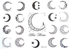 Temporary Tattoos  Crescent Moons  Body Art by SevernBlackFeathers