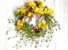 Springy Door or Wall Wreath Summer Wreath by StrawberryStix, $19.00