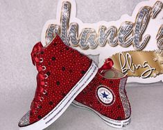 Check out our louis vuitton selection for the very best in unique or custom, handmade pieces from our shops. Red Converse Shoes, Red High Top Converse, Bling Converse, Bling Shoes, Converse All Star, High Top Sneakers, Pageant Shoes, Red Wedding Shoes, Ribbon Shoes