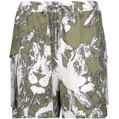 Roberto Cavalli Printed washed-silk shorts (14.580 RUB) ❤ liked on Polyvore featuring shorts, army green, ruched shorts, roberto cavalli, olive green shorts, loose fitting shorts and lightweight shorts