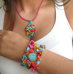 Beaded bracelet Colorful bracelet Boho bracelet Turquoise door ibics