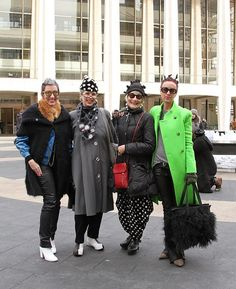 Street Style New York Fashion Week: Day 1 | StyleCaster- Fashionistas of fabulous fashion blog; Blank Stare Blink (they're the ladies on either side)