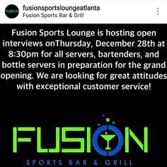 SWIPE LEFT  .  YES WE ARE HIRING!!! Tonight 830pm sharp!!! . Text FUSION to 545454 for info . . Come out dressed to impress and bring your resume      Fusion Sports Lounge 5851 Buffington Rd Atlanta Ga 30349 . #fusionsportslounge #servers #bartender #waitress #cooks #nightclubs #barbacks #jobs #atlanta #employment  #southside #bottlegirls #sports #bar #lounge #club #pub #dj #gogodancer #graphicdesigner #promoters #entrpreneur #instajob #gig #nightlife #atlanta #restaurant #foodie…