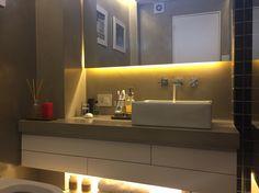 Bathroom. Led lightning. microcement. zen. Pendant vanitory.