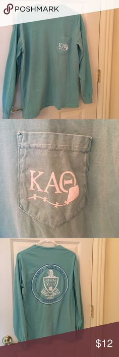 Shirt Kappa Alpha Theta long sleeved comfortable tee.  Very soft and in great condition.  Smoke free home.  The color is a soft aqua. Comfort Colors Tops Tees - Long Sleeve