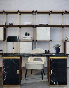 Contemporary glam office with gold & marble