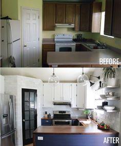 Great kitchen redo! Love the pantry door, fixtures, and navy & white.