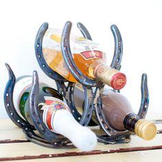 Homemade Horseshoe Wine Rack! How fun!