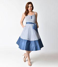 Unique Vintage 1940s Style Blue   White Striped Seersucker Lonestar Swing  Dress 94e9ffeec