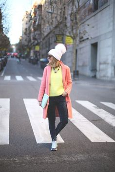Shop this look on Lookastic:  http://lookastic.com/women/looks/beanie-and-overcoat-and-crew-neck-sweater-and-jeans-and-low-top-sneakers-and-clutch/1180  — Pink Beanie  — Pink Coat  — Yellow Crew-neck Sweater  — Charcoal Corduroy Jeans  — White Low Top Sneakers  — Mint Leather Clutch