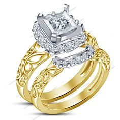 Yellow Gold Finish 925 Silver Princess & Round Simulated Diamond Bridal Ring Set #aonedesigns #WeddingEngagementAnniversaryBrithdayPartyGift
