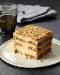 Pumpkin-Gingersnap Tiramisù | Pumpkin pie meets tiramisù, with layers of pumpkin-mascarpone custard and gingersnaps brushed with Calvados syrup.