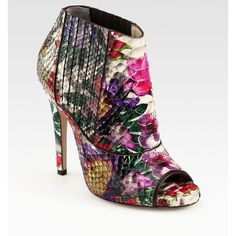 Jimmy Choo Bolt Floral-Print Python Ankle Boots ($1,895) ❤ liked on Polyvore
