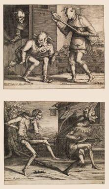 The Two Carnival Fools (engraving)- Hendrik Hondius I after Pieter Bruegel the elder- Herbert F. Johnson Museum of Art