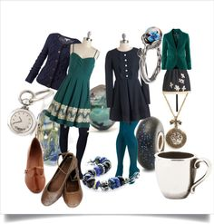 """Winter hues - Navy & Turquoise"" by mytrollbeads on Polyvore"