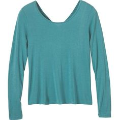 Prana Women's Miriam Top (190 BRL) ❤ liked on Polyvore featuring tops, retro teal, stretchy tops, retro tops, ruched tops, scoopneck top and shirred top