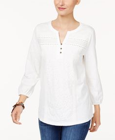 Style & Co Mixed-Lace Peasant Blouse, Created for Macy's - Tops - Women - Macy's Cheap Womens Tops, Trendy Tops For Women, Blouses For Women, Long Shirt Outfits, Beautiful Dress Designs, Kurta Neck Design, Petite Tops, Henley Top, Peasant Blouse